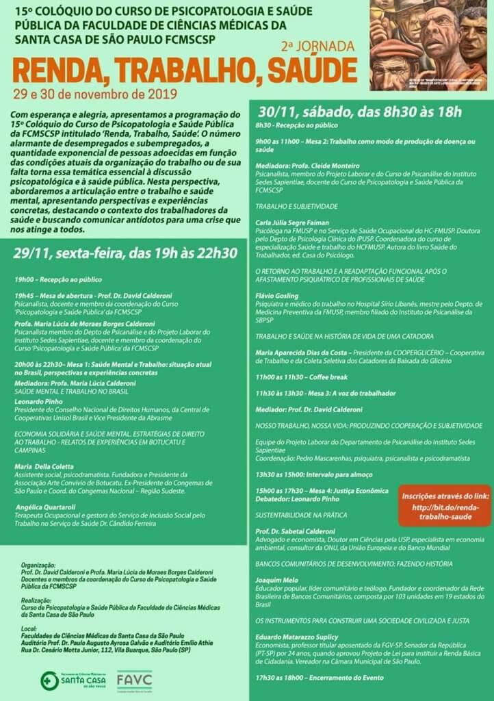 15º colóquio do curso de psicopatologia e saúde pública